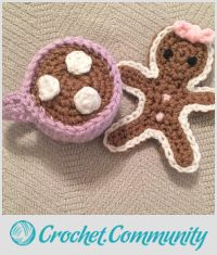 Crochet Gingerbread Cookie with Hot Chocolate