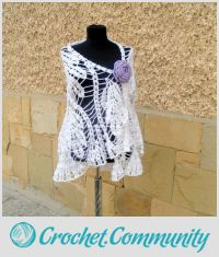 Crochet Wedding Shawl, White Wedding shawl , Crochet lace shawl, Lovely crochet bride shawl