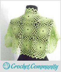 Green Crochet Bolero, Shrug, Jacket Bolero, Vest, Spider Lace Shrug