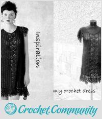 Black Crochet Dress, Elegant Woman Dress, Handmade Crochet  Dress