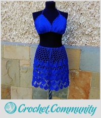 Crochet Beach Set, Blue Crochet Skirt, Crochet Bustier, Lace Suit, Resort Cover up, Summer Lace