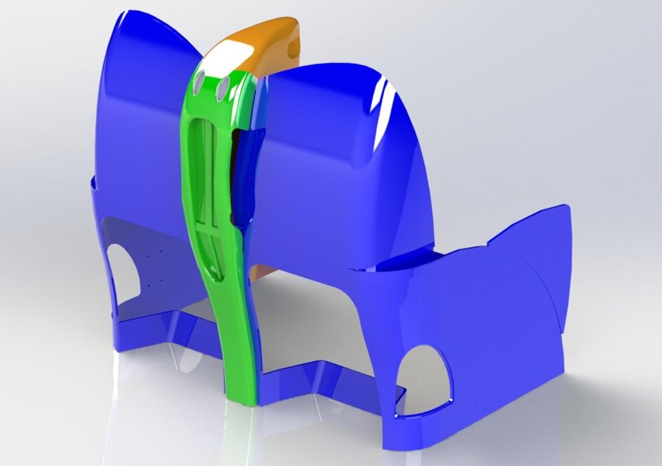Aircraft Composite Seat 3D CAD Model Rear View