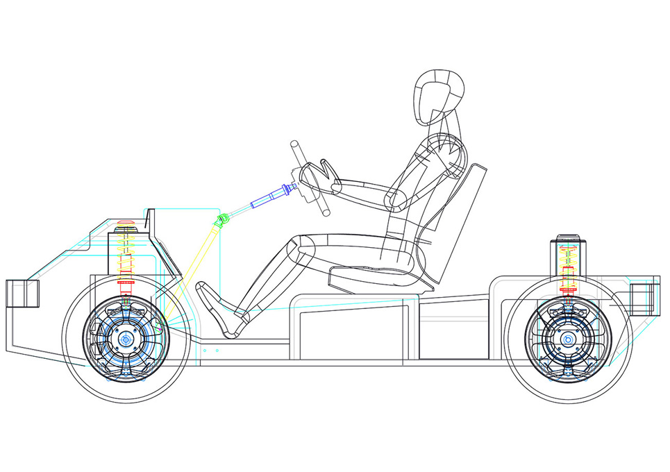 Hybrid Vehicle Chassis 2D CAD Drawing