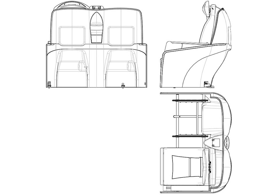 Aircraft Composite Seat 2D CAD Drawing