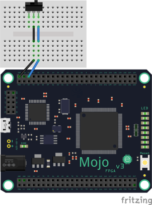 Fritzing example with new Mojo part