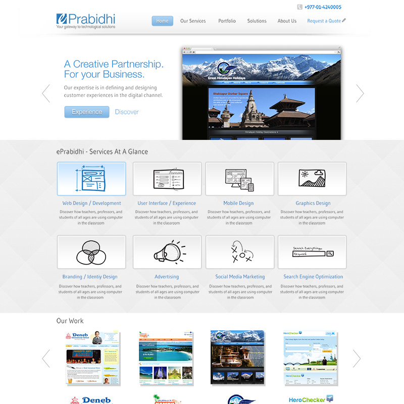 EPrabidhi Homepage Design