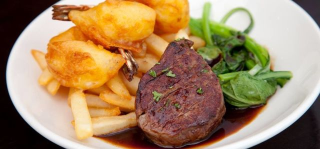 $19.95 Medallion Steak and Crispy Prawns at Coventry Seafood Bar & Grill