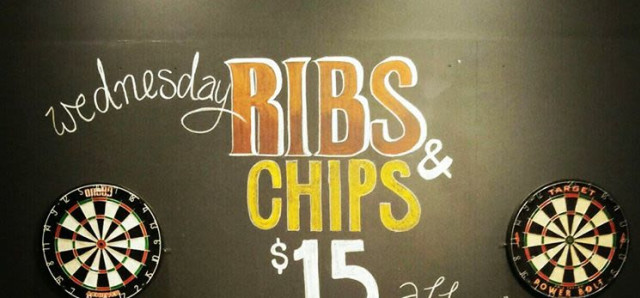 $15  Ribs and chips at The Cricketers