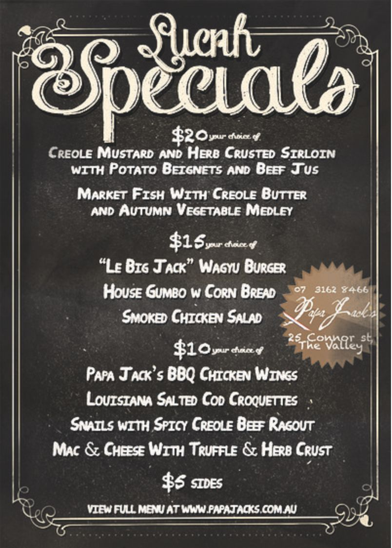 10 lunch special menu weekdays 12 2 30pm papa jack 39 s for Lunch specials