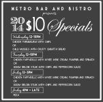 $10 Pizzas at Metro bar and bistro