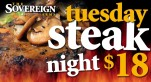 $18 Steak Night at The Sovereign Arms