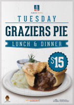 $15 Graziers Pie at Albion Hotel