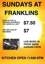 $7.50 Sunday Pints at Franklins Tavern