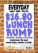 $16.90 Huge 450g Rump Steak at The Caxton Hotel