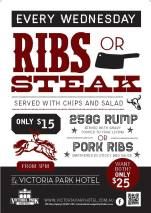 $15 Ribs n' Steak at Victoria Park Hotel
