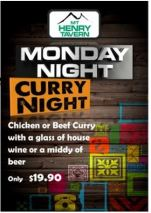 $19.90 Curry Night at Mount Henry Tavern