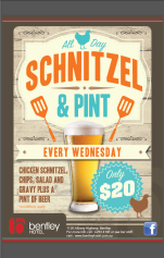 $20 Schnitzel & Pint at The Bentley Hotel