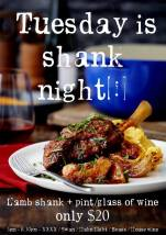 $20 Shank Night at Franklins Tavern