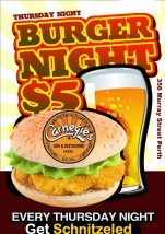 $5 Burger Night at Carnegies Bar & Restaurant