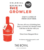 $40 2L Growler at The Royal on the Waterfront