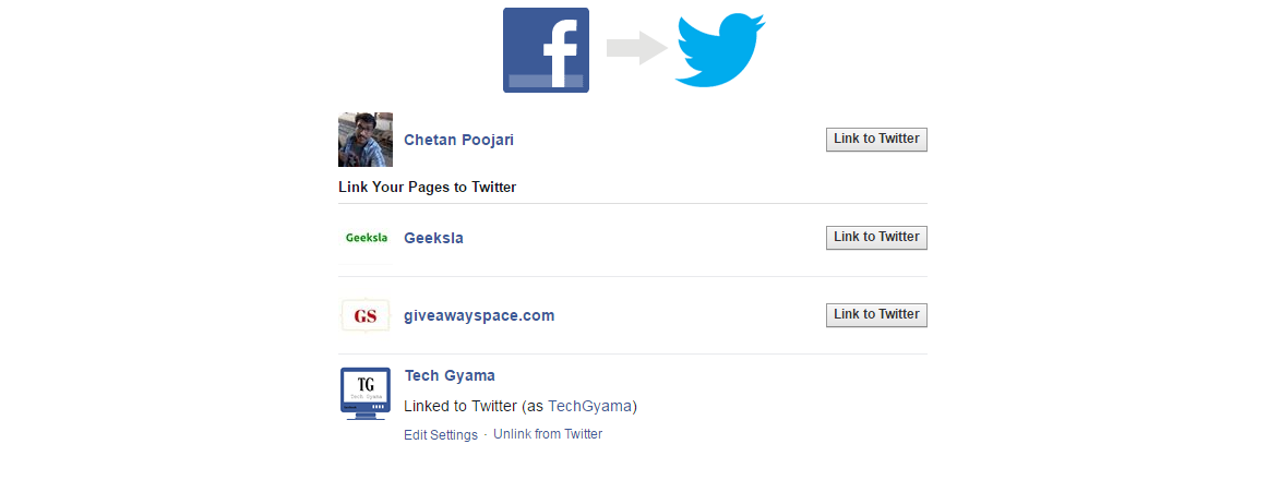 link twitter account with facebook page