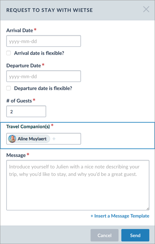 CouchSurfing Mockup with travel companion field