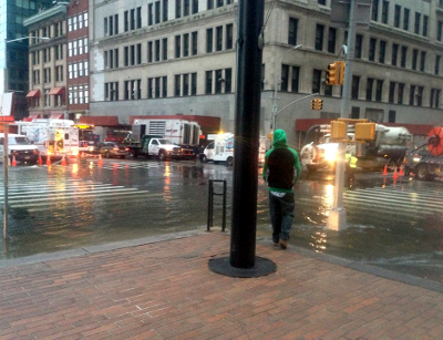 Datagram Offices being flooded in downtown Manhattan