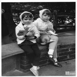 1950's - Girls with Rabbit and Guinea Pig