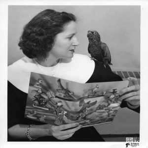 1950's - O'Donnell with Hawk-Headed Parrot
