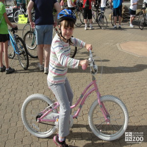 Zoo Visitor on Pink Bike during Wild Ride at the Zoo