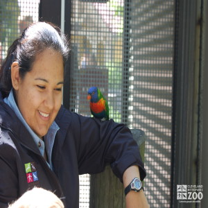 Antoinette Rivera and a Lorikeet