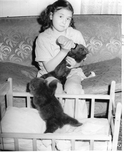 1953 - Kodiak Bear Cubs with Turnauckas' Daughter