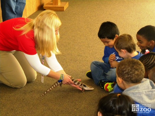Stacey with Blue-Tongued Skink