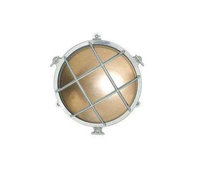 7030 Brass Bulkhead with External Fixing via Feet, Chrome Plated by Davey Lighting Limited