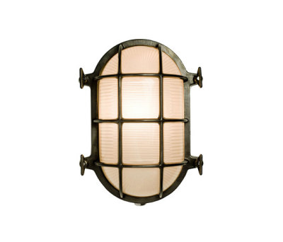 7035 Oval Brass Bulkhead with Internal Fixing, Weathered Brass by Davey Lighting Limited