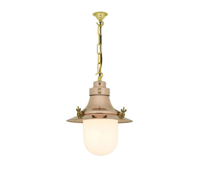 7125 Ship's Small Decklight, Polished Copper, Opal Glass by Davey Lighting Limited