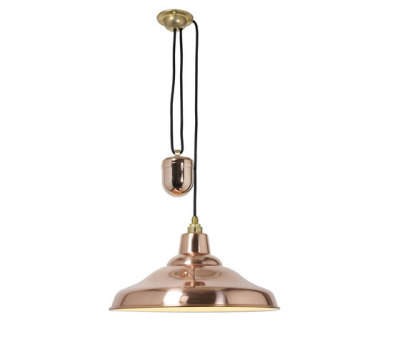 7200 Rise & Fall School Light, Polished Copper by Davey Lighting Limited