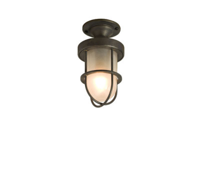 7204 Miniature Ship's Well Glass Ceiling Light, Weather Brass, Frosted Glass by Davey Lighting Limited