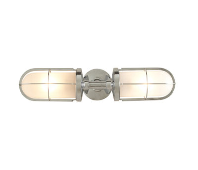 7208 Weatherproof Ship's Double Well Glass, Chrome Plated, Frosted Glass by Davey Lighting Limited