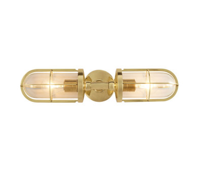 7208 Weatherproof Ship's Double Well Glass, Polished Brass, Clear Glass by Davey Lighting Limited