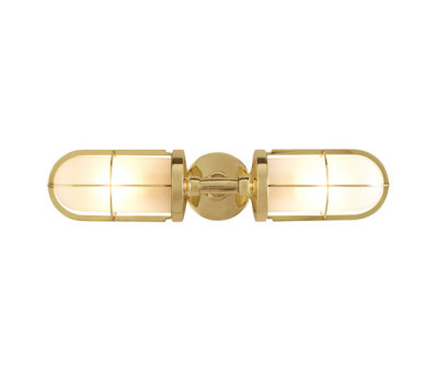 7208 Weatherproof Ship's Double Well Glass, Polished Brass, Frosted Glass by Davey Lighting Limited