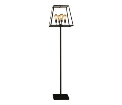 7636 Quad Floor Light, Weathered Brass, Clear Glass by Davey Lighting Limited