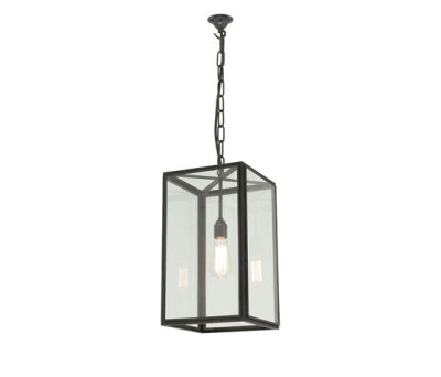 7639 Small Square Pendant, External Glass, Weathered Brass, Clear Glass by Davey Lighting Limited