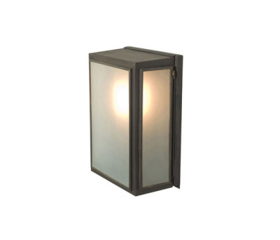 7641 Box Wall Light, External Glass, Small, Weathered Brass, Frosted Glass by Davey Lighting Limited