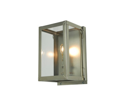 7643 Miniature Box Wall Light, Internal Glass, Satin Nickel, Clear Glass by Davey Lighting Limited