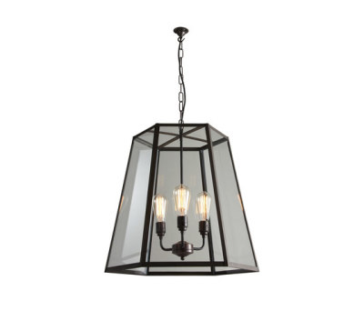 7651 Hex Pendant, Extra Large, Weathered Brass, Clear Glass by Davey Lighting Limited