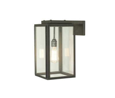 7656 Small Portico Wall Light Weathered Brass, Clear Glass by Davey Lighting Limited