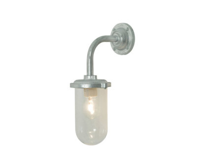 7672 Bracket Light, 100W, Round, Swan Neck, Galvanised, Clear Glass by Davey Lighting Limited