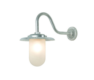 7677 Exterior Bracket Light, 100W, Swan Neck, Galvanised, Frosted Glass by Davey Lighting Limited