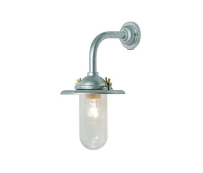 7685 Exterior Bracket Light, Ref, Right Angle, Round, Galvanised, Clear Glass by Davey Lighting Limited